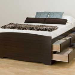"""Prepac - Manhattan Storage Platform Bed - The practical design of this Queen Platform Storage Bed combines extra deep drawers for plenty of storage space with a slat support system, eliminating the need for a box spring. Solid wood slats positioned lengthwise distribute body weight evenly and minimize the amount of motion transfer. Six large drawers positioned below the bed are easy to access and accommodate clothing, or anything you need to store. Linens, blankets, and magazines are just a few ideas! Made from composite woods and easy-to-clean Melamine laminate, solid wood slats, metal supports, and high quality hardware, the Espresso Manhattan Queen Platform Storage Bed will bring simple elegance to any bedroom. Features: -Solid wood slats distribute body weight evenly and eliminate the need for a box spring.-Six spacious drawers.-All-metal roller glides for smooth opening.-Left or right-facing door configuration.-Ready-to-assemble.-No box spring required.-Constructed of composite woods and easy-to-clean Melamine laminate.-Distressed: No.-Country of Manufacture: Canada.Dimensions: -Full dimensions: 18.75"""" H x 57"""" W x 76.5"""" D.-Queen dimensions: 18.75"""" H x 63"""" W x 81.5"""" D.-Overall Product Weight: 188 lbs. About the Manufacturer: About Prepac: Founded in 1979, Prepac Manufacturing is a state-of-the-art manufacturer of home furnishings and storage products with its main manufacturing factory located in the heart of the forest-rich province of Brit'sh Columbia, Canada. Prepac is now one of the largest producers of ready to assemble furniture in Canada, with full-service representation throughout North America. To ensure our customers receive outstanding design and quality at competitive prices, Prepac's design, engineering, production, testing and packaging are all done in-house."""