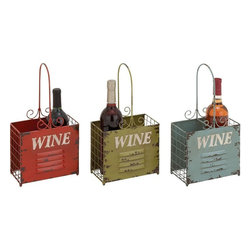 "Benzara - The Rustic Metal Wine Holder 3 Assorted - Do you love wines? Do you have a cellar full of them? Well, whatever the number of wine bottles you own, you will agree that certain bottles are to be kept ready at hand to enjoy and appreciate. Well, now you can keep those bottles in these metal wine holders. Made from metal, these wine holders have rustic look and a capacity to hold two bottles each. This means that you can keep whatever bottles you want to enjoy at a hand's distance.With sides like the outside of a window, these holders have been made using quality materials; this means that they will last with you for years to come. Their utility will impress one and all, and their unadorned and simple looks will go perfectly with any home. So don't wait around. These metal wine holders are certainly a must have. Metal wine holder 3 assorted dimensions: All 3 holders: 8 inches (W) x 4 inches (D) x 15 inches (H); Metal wine holder color: Assorted; Made from: Metal; Dimensions: 10""L x 13""W x 26""H"