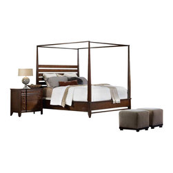 Hooker Furniture - Hooker Furniture Lorimer Queen Canopy Poster Bed 4 Piece Bedroom Set - Hooker Furniture - Bedroom Sets - 50659065090050KIT4PcPKG -