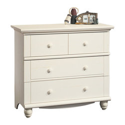 Sauder - Sauder Harbor View 3-Drawer Chest in Antiqued White - Sauder - Chests - 158013 - Rustic and warm this 3-Drawer Chest from the Sauder Harbor View collection will bring great style to any room.  Drawers feature metal runners and safety stops allowing you to use this in even the busiest of households.  As an added bonus the assembly couldn't be easier with the patented T-slot drawer assembly system.  Detailing includes solid wood knobs and turned feet.  Finished in a beautiful antiqued white there is no doubt that this chest will be a staple in your child's bedroom master bedroom or guest room for years to come.Features: