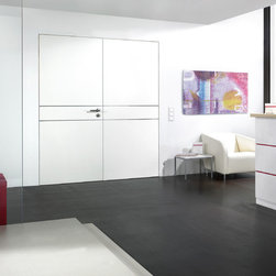 "Laminated Doors - ""White"" - ""White"" is a smooth finish laminate.  Laminate doors are a terrific alternative to real wood or wood veneer which are easy to clean, scratch resistant, durable and best of all affordable.  All Bartels laminated door products are provided as complete door systems including jamb and casing, door panel and all necessary hardware.  Laminated panels may also be ordered as  pocket doors or slabs only for use with sliding systems and Modern Barn Door Hardware."