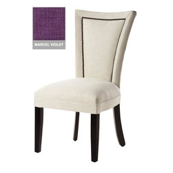 Home Decorators Collection - Custom Dining Chair with Nailheads - The sleek, curved design supports your back for exceptional comfort. The Dacron-wrapped seat cushion is extra cozy. Shiny, individually applied chrome nail heads add a classic touch that complements any decor. Rubber wood and poly foam construction. Assembled to order in the USA and delivered in approximately 8-10 weeks.