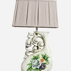 Floral Hand Painted White Finish Wooden Vase Table Lamp - Table lamps in solid wood carvings will enhance your home with a perfect mix of form and function.The rectangle shade is a linen fabric with natural slubbing.
