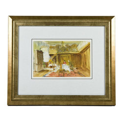 Lavish Shoestring - Consigned Scottish Manor House Dining Room, Vintage English Watercolour - This is a vintage one-of-a-kind item.