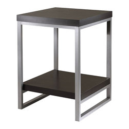 "Winsome - Winsome Jared End Table with Enamel Steel Tube in Dark Espresso Finish - Winsome - End Tables - 93418 -Jared line of contemporary occasional tables is made with pewter color enamel finished metal tube frames and black wood tops. The End Table has a wooden bottom shelf; is 24.5""high x 18""square."