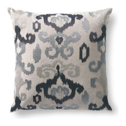 Grandin Road - Anna Embroidered Ikat Throw Pillow - Ikat-embroidered throw pillow. Natural cotton ground. Down insert included. Hidden zipper. Add an artful accent to your seating when you toss a soft, embroidered Ikat-patterned pillow into the mix.  .  .  .  . Imported.