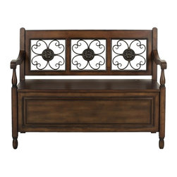 Safavieh - Erica Storage Bench - Relax. The Erica Storage Bench is the perfect beginning and end to the day. With reclaimed look, the birch wood of this practical piece boasts a welcoming bronze finished decorative iron floral design, as well as enough storage to hold the hats, gloves and boots that prepare you for tomorrow's journeys.