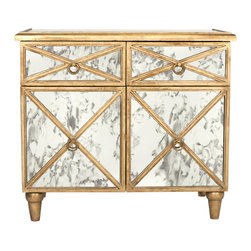 Worlds Away - Worlds Away Gold Leaf Antique Mirror Crosshatch Chest HUMPHREY G - Gold leaf antique mirror crosshatch chest. Drawers are on glides. Back painted gold.