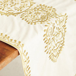 Gold-Embroidered Table Runner - I adore this gold-embroidered table runner.