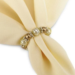 Excell Home Prod. /kemp & Beatley - Beads and Pearls Napkin Ring - Metallic tones and pearl-like beads come together to create one fashionable napkin ring. A set of these rings will be a hit at any table at any occasion.