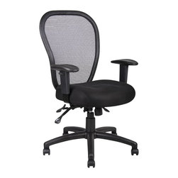 Boss Office Products - Boss Office Products Mesh Chair with 3 Paddle Mechanism - Boss Office Products-Office Chairs-B6008-The Boss task chair features an ergonomic open mesh back designed to provide exceptional back support and a breathable mesh fabric seat with ample padding for comfort while sitting during a long workday. Other features include a three paddle multi-function tilting mechanism a seat tilt lock that allows seat to lock throughout the tilt range and a back angle lock that allows the seat to lock throughout the angle range for perfect back support.