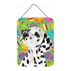 Caroline's Treasures - Dalmatian Easter Eggtravaganza Aluminium Metal Wall Or Door Print - Great for inside or outside these Aluminum prints will add a special touch to your kitchen, bath, front door, outdoor patio or any special place.  12 inches by 16 inches and full of color.  This item will take direct sun for a while before it starts to fade.  Rust and Fade resistant.  Aluminum Print with Hanging Rope.  Rounded Corners.
