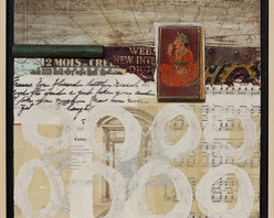 """""""Travel Stories"""" Artwork - Travel Stories by Darlene Olivia McElroy has layers of ephemera collaged on the surface as well as dimensional objects, fabric and paint to give the feel of a traveler's memory."""
