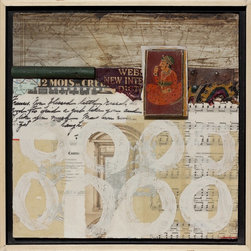 """Travel Stories"" Artwork - Travel Stories by Darlene Olivia McElroy has layers of ephemera collaged on the surface as well as dimensional objects, fabric and paint to give the feel of a traveler's memory."