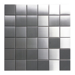 CNK Tile - Stainless Steel Mosaic Tile 2x2, Sqft - Our heavy duty stainless steel mosaic tiles are made with a heavy porcelain base, double A grade stainless steel with a mesh backing for easy installation. These stainless steel tiles are great for vertical surfaces such as a backsplash for a stove top in the kitchen. Unsanded grout is required for the installation for stainless steel tiles.