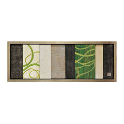 Ren-Wil - Lime Cocktail Rectangular Framed Art - Fresh lime greens are integrated with hand-made highly textured grey, black and white panels and finished with a black frame.