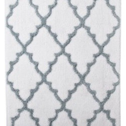 Ogie Bath Rug, White/Aqua - I like the design and appreciate that it isn't one color, so it will add a bit of interest to the floor.