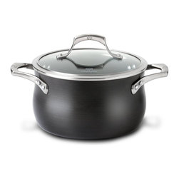 """Calphalon Unison Nonstick 4 qt. Soup Pot w/Lid - Prepare all of your favorite soups and chowders with the new Calphalon Unison nonstick 4 quart soup pot ! The """"slide"""" nonstick cooking surface of this Unison soup pot from Calphalon ensures that ingredients in your soups won't adhere to the bottom during cooking. This pan is easy to clean thanks to the nonstick surface combined with Calphalon's dishwasher-safe, hard-anodized aluminum exterior. The heavy-gauge aluminum construction also helps this pan heat evenly across the entire cooking surface. Pot made in the USA!"""