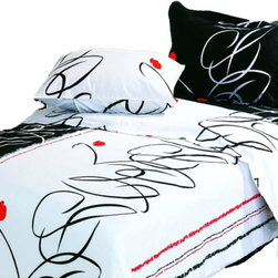 Le Vele - Le Vele - Life, 6 Piece Duvet Cover Sheet Set Bed in a Box, Full/Queen LE23Q - The black and white pattern of this duvet cover set will give a modern look to a bedroom. Black and white floating ribbons are alternating with accents of red flowers.