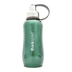 Thinksport - Thinksport Insulated Sport Bottle, Green, 12 Oz - Built to fit your active lifestyle, thinksport Stainless Steel Insulated Sports Bottles provide an alternative to bottles containing Bisphenol-A (BPA). thinksport Stainless Steel Insulated Sports Bottles are built tough and super insulated to keep the contents cold or hot for hours. This insulated bottle has a double-walled and vacuum-sealed stainless steel construction. When you fill your insulated bottle you won't feel the temperature of the contents; now you won't ever have to grab a blazing hot bottle or a freezing cold one either. You can fill our bottle with ice, your favorite drink and enjoy a cold drink without the bottle sweating all over your gym bag, backpack, or desk. thinksport bottles elegant design features a wide mouth opening (for ease of filling and cleaning) and a smaller polypropylene spout (for convenient drinking). thinksport bottles also feature a removable interior mesh filter that keeps ice from blocking the drinking spout and allows users to conveniently brew loose leaf tea on the go or make campfire coffee. The thinksport insulated bottle is a high-quality insulated sport bottle for about the same price as the other guys  basic single-walled bottles. thinksport bottles are made of 18/8 medical-grade 304 stainless steel and do not have any type of potential harmful liner. thinksport products address the growing concern of toxic chemicals leaching from consumer products. All thinksport products are free of bisphenol-A (BPA), lead, PVC, phthalates, melamine, nitrosamines, and biologically toxic chemicals. How do you care for my thinksport bottle? thinksport recommends hand washing your bottles, however bottles are dishwasher safe, be sure to remove the cap and strap first. thinksport Stainless Steel Insulated Sports Bottles are great for the beach, tailgating, bicycling, camping, gym, and for keeping your drinks hot or cold at the office. Size: 350ml (12oz), 8  x 2.5  wide.Great for keeping one at home and one on the go.