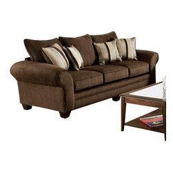 Chelsea Home Furniture - Chelsea Home Clearlake Sofa in Waverly Godiva - Kendu Onyx Pillows - Clearlake Sofa in Waverly Godiva - Kendu Onyx Pillows belongs to the Chelsea Home Furniture collection