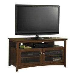 Bush - Bush Buena Vista TV Stand in Serene Cherry - Bush - TV Stands - MY13646A03 -   The Buena Vista TV stand merges traditional style with contemporary craftsmanship. Glass doors and the hearty cherry finish create a classic look. Shelving provides ample room for media storage and organization.   Features: