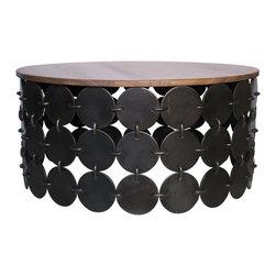 Noir - Noir - Lola Round Coffee Table - Light Walnut and Metal
