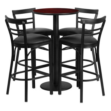 Flash Furniture - Flash Furniture Restaurant Furniture Table and Chairs X-GG-4301BRSR - 24'' Round Mahogany Laminate Table Set with 4 Ladder Back Bar Stools - Black Vinyl Seat [RSRB1034-GG]