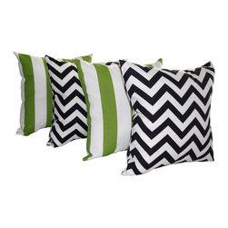 Land of Pillows - Chevron Black and Deck Stripe Bay Green Outdoor Throw Pillows - Set of 4, 18x18 - Fabric Designer - Premier Prints