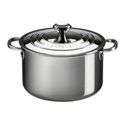 Le Creuset - Le Creuset 11 qt. Stainless Steel Stockpot with Lid - SSP3100-28 - Shop for Stock Pots & Slow Cookers from Hayneedle.com! Ideal for entertaining the Le Creuset 11 qt. Stainless Steel Stockpot with Lid allows you to make plenty of soup for everyone. Crafted from durable tri-ply stainless steel this stock pan has a full aluminum core protected by the rolled sealed and polished rim which heats quickly and evenly as well as a magnetic external layer which is induction-compatible and infused with titanium to resist discoloration. Made up of surgical-grade stainless steel the interior provides a safe and stable cooking surface while the proprietary steel blend of the pan resists pitting and scorching and maintains its luster over time. Featuring an ergonomic handle for easy maneuvering this pan also has a precision-pour rim which allows for clean easy pouring straight from the pan. The included lid helps to keep heat and moisture inside while cooking and keeps your food warm when served at the table. Oven safe up to 500 degrees Fahrenheit this pan is safe for gas electric ceramic halogen and induction stovetops. Additional Features Exterior is infused with titanium to resist discoloration Inside layer made of surgical-grade stainless steel Provides a safe and stable cooking surface Conducts and distributes heat evenly Features a precision-pour rim Allows for clean convenient pouring from pan Ergonomic handles for easy maneuvering Proprietary steel blend resists pitting and scorching Maintains its luster over time Lid keeps heat and moisture inside Oven safe to 500 degrees Fahrenheit Safe for gas electric and ceramic stovetops Also safe on halogen and induction stovetops Dishwasher safe Limited lifetime warranty About Le Creuset of America Inc.From its cast iron cookware to its teakettles and mugs Le Creuset is a global standard of inimitable color and quality. Founded in 1925 in the northern French town of Fresnoy-Le-Grand Le Creuset still produces enameled c