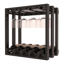 Wine Storage Lattice Stemware Cube in Redwood with Black Stain + Satin Finish - Designed to stack one on top of the other for space-saving wine storage our stacking cubes are ideal for an expanding collection. Use as a stand alone rack in your kitchen or living space or pair with the 20 Bottle X-Cube Wine Rack and/or the 16-Bottle Cubicle Rack for flexible storage.