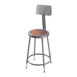 National Public Seating - Science Lab Stool w Hardboard Seat and Backre - 16 rivets on seat to prevent warping. 0.63 in. O.D. foot rings welded to each leg by four contact points at each leg for added rigidity. Adjustable with vinyl padded backrest. Adjusts up or down and forward or back. Steel contains 30-40% of post-consumer waste (recycled). Meets ANSI and BIFMA standards. Warranty: Five years for material. Made from 0.88 in. O.D. 18-gauge steel tubing. Backrest: 12 in. W x 6 in. H. Overall: 15 in. W x 37 - 39 in. H (16.5 lbs.)