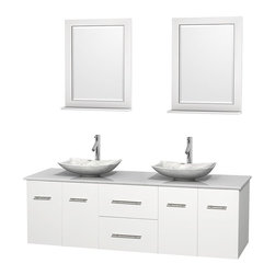 Wyndham Collection - 72 in. Double Bathroom Vanity in White, White Man-Made Stone Countertop, Arista - Simplicity and elegance combine in the perfect lines of the Centra vanity by the Wyndham Collection . If cutting-edge contemporary design is your style then the Centra vanity is for you - modern, chic and built to last a lifetime. Available with green glass, pure white man-made stone, ivory marble or white carrera marble counters, with stunning vessel or undermount sink(s) and matching mirror(s). Featuring soft close door hinges, drawer glides, and meticulously finished with brushed chrome hardware. The attention to detail on this beautiful vanity is second to none.