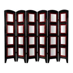 Oriental Furniture - 5 1/2 ft. Tall Photo Shoji Screen - 6 Panel - Black - For a fun and creative way to present photographs, art, documents, blueprints, maps, anything you can think of, in home or commercial settings. This Photo Shoji Screen room divider is the perfect solution.
