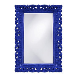 Barcelona Mirror Royal Blue - This rectangular, Traditional mirror features an ornate open scroll work frame that is finished in a glossy royal blue lacquer.