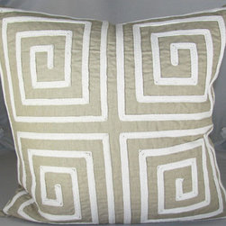 Design Accents - Greek Key Cotton 20 x 20 Decorative Pillow - - Lovely hand embroidered linen pillow.  - Cover Material: Cotton pillow cover  - Fill Material : Down feather insert  - Cleaning/Care: Dry Clean Only  - Fabric Material: Cotton Design Accents - KSS-0115 Greek Key