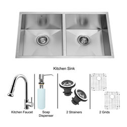 Vigo - All in One 32in.  Undermount Double Bowl Kitchen Sink and Chrome Faucet Set - Modernize the look of your entire kitchen with a VIGO All in One Kitchen Set featuring a 32in.  Undermount kitchen sink, faucet, soap dispenser, two matching bottom grids and two sink strainers.