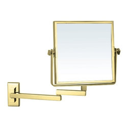 Nameek's - Wall Mounted Double Face Magnifying Mirror, Gold - This 8 inch square mirror is a wall mounted fixture.