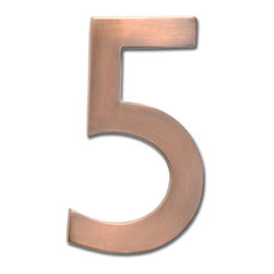 "Architectural Mailboxes - 5"" Floating House Number Antique Copper ""5"" - The�Solid Cast Brass 5"" Floating House Numbers�offer four classically elegant�finishes - antique brass, antique copper, satin nickel, and dark aged copper. Each house number is hand finished in a premium metallic finish. They can be mounted either flush with the wall or you can leave the mounting screws partially out of the holes for a floating number effect. No holes or unsightly screw heads are shown. The House Numbers compliment  Peninsula Mailboxes, Metropolis Mailboxes and the brass accents on Coronado Mailboxes.  Includes installation instructions and hardware."