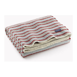 Origin Crafts - Half hounds wool throw - pewter/red - Half Hounds Wool Throw - Pewter/Red During the development of this product, we were headed toward a traditional plaid, but found that the stripes alone gave this Half Hounds Throw an enviable, more contemporary undertone. Not too heavy and not too light, it provides ample warmth and comfort while