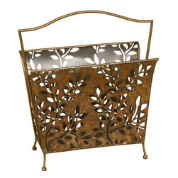 Welcome Home Accents - Magazine Rack with Carry Handle - Magazine holder features cut our metal leaves design, with carry handle for ease of portability. Aged bronze finish. Stands on 4 balled feet. Wipe with a dry cloth.