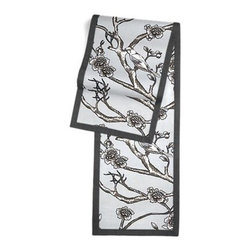 Gray Modern Chinoiserie Custom Table Runner - Set a table for a king! or just your family and friends!! with our gorgeous Tailored Table Runner. Solid edging adds a touch of refinement, perfectly setting off the center fabric. We love it in this ice gray modern chinoiserie print with blossoms and birds branching out across a soft lightweight cotton.