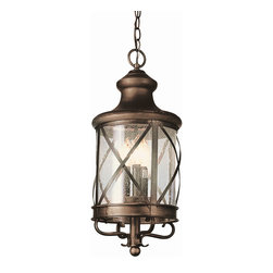 Trans Globe - New England Coastal Hanging Coach Lantern - New England Coastal Hanging Coach Lantern features seeded glass with Antique Copper or Rubbed Oil Bronze finish available in two sizes. Smaller size is 9 inches wide x 20.5 inches high and requires three 40 watt 120 volt B10 candelabra base incandescent lamps not included.  Larger size is 10.75 inches wide x 25.25 inches high and requires four 40 watt 120 volt B10 candelabra base incandescent lamps not included.