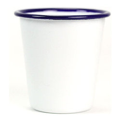 Enamel Tumbler, Blue Rim - These blue rim enamel tumblers appear to be straight from the summer campsite. Enamelware is durable and easy to clean so it is perfect for camping and picnics. But this tumbler is simple and beautiful enough to be used inside as well. The stackable design makes for easy storage, too.