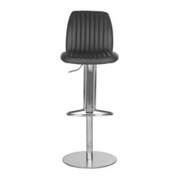 Safavieh - Lamont Barstool - Black - Dress up your kitchen or game room with the elegantly upholstered Lamont barstool from Safavieh. Beautiful channel quilting in luxe black PU leather contrasts a sleek stainless steel silhouette in this designer barstool with adjustable seat height.