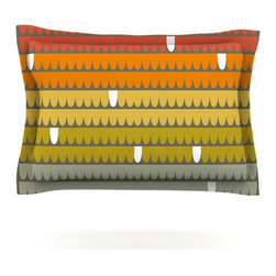 """Kess InHouse - Pellerina Design """"Rainbow Scallops"""" Red Orange Pillow Sham (Cotton, 30"""" x 20"""") - Pairing your already chic duvet cover with playful pillow shams is the perfect way to tie your bedroom together. There are endless possibilities to feed your artistic palette with these imaginative pillow shams. It will looks so elegant you won't want ruin the masterpiece you have created when you go to bed. Not only are these pillow shams nice to look at they are also made from a high quality cotton blend. They are so soft that they will elevate your sleep up to level that is beyond Cloud 9. We always print our goods with the highest quality printing process in order to maintain the integrity of the art that you are adeptly displaying. This means that you won't have to worry about your art fading or your sham loosing it's freshness."""