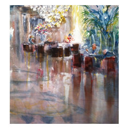 The Plaza Hotel Lobby, Original, Mixed Media - This painting was done from a sketch the artist made many years ago while waiting for a friend in the lobby of the iconic plaza hotel. the lobby serves both as a reception area and casual bar. it is a favorite gathering spot for a causal meeting. damask draped, floor to ceiling windows flood the lobby in ethereal yellow light . the bartender in the upper right is busily shaking martinis for the bar crowd. the men seated under the palm are reviewing important documents.the mirror -like marble floor with its stunning compass inlay, reflects the sparkle of the colossal crystal chandelier. you can almost hear the tinkle of glasses and muffled conversation as you sink deeper into this masterfully painted image.