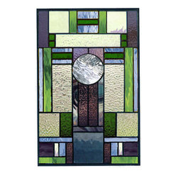 Art Deco Stained Glass style 15 - This stained glass panel can be modified to fit your opening.   I work closely with clients to achieve the desired color scheme..  I will provide a full color scaled drawing at your request.
