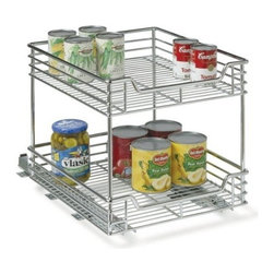 "Household Essentials - 2Tier Sliding Organizr 14.5In - These standard size commercial grade, heavy duty, chrome wire organizers are easy to install. Full extension slides provide easy access in these under cabinet organizers. The upper and lower shelf are equal in size. Comes with glides fully assembled. Moun  ts to a surface with screws (included). No tools required to add the second tier. The sliders glide on ball bearings for smooth and effortless operation and allow for full tray extension.        14.5""W x 16.5""H  x 17.75""D"