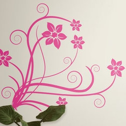 Deco Swirl Peel and Stick Wall Decals - Add a cute, feminine touch to any room with the Deco Swirl Peel and Stick Wall Decals. Perfect for a girl's room or for Mom to add a girly touch to her personal space, these decals feature hot pink flowers and delicate, curly stems. The set comes with all elements separated, so you can create a unique, custom design. Don't like the pattern you've created? No problem - just peel the decals from your wall and reposition them, as many times as you like, until you achieve the perfect look. You'll feel like an interior designer in no time!Additional Features:Remove and reapply as many times as you likeSizes range from 2.27W x 2.75H to 7.75W x 35.5H inchesWipe clean with soft, damp cloth and mild soapDon't use glass cleaner; may cause colors to runAbout Roommates:Roommates, a subsidiary of York Wallcoverings Inc, creates some of the most versatile and unique wall decor you'll find. Their innovative wall decals feature a removable and endlessly reusable design, allowing you to move and rearrange your decals as often as you like, all without causing any damage to your walls or furnishings. This means you can apply them without worry or headache, since you don't have to get the application perfect the first time. RoomMates work on any smooth surface, and are particularly ideal for temporary decorating, such as around the holidays. All RoomMates products are proudly made in the USA, and are made from non-toxic materials so they're as safe for your kids and pets as they are for your walls.Please note this product does not ship to Pennsylvania.